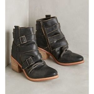 Anthropologie Kelsi Dagger Black Ankle Boots 6